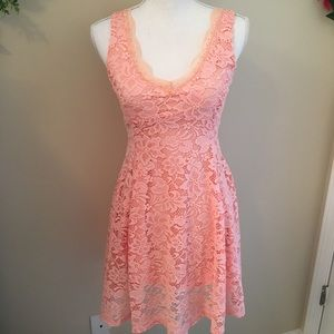 Love Chelsea Pink Lace Fit And Flare Dress Medium